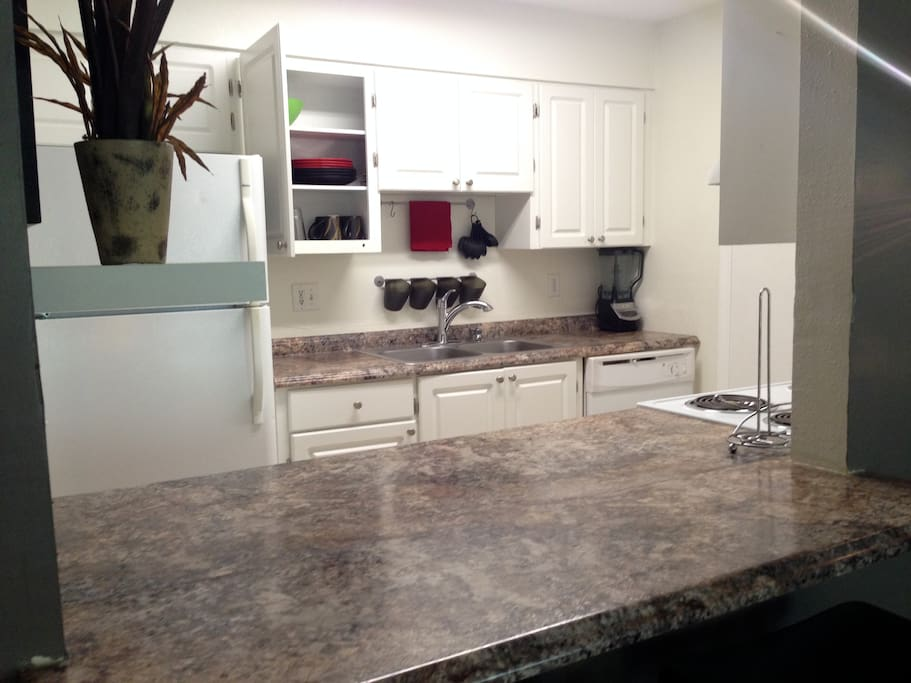 Pass through kitchen w/ large custom counter top.