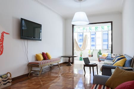 A beautiful room with private bathroom available in our 264 m apartment, safe building with doorman in Copacabana!!! Only 3 blocks from the beach, 300m from the metro.  Literally the best location in Rio/Wifi/funky, large apartment Xmas & NYE Here!!