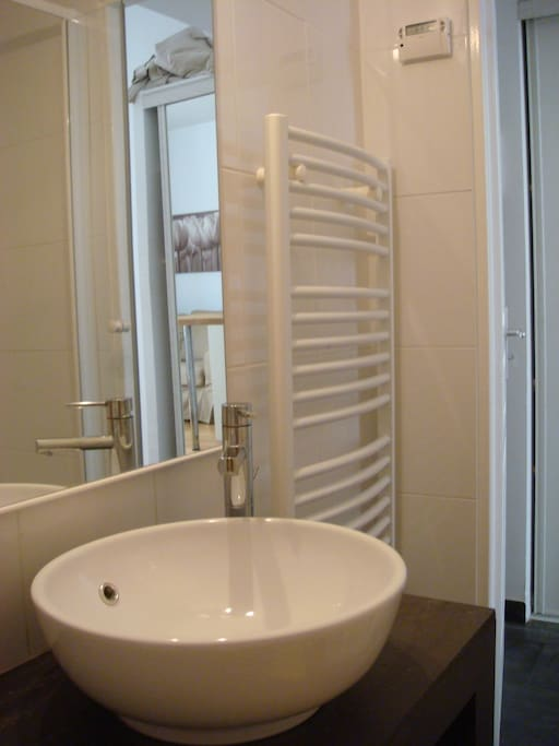 Nice and fresh bathroom with a shower and wc