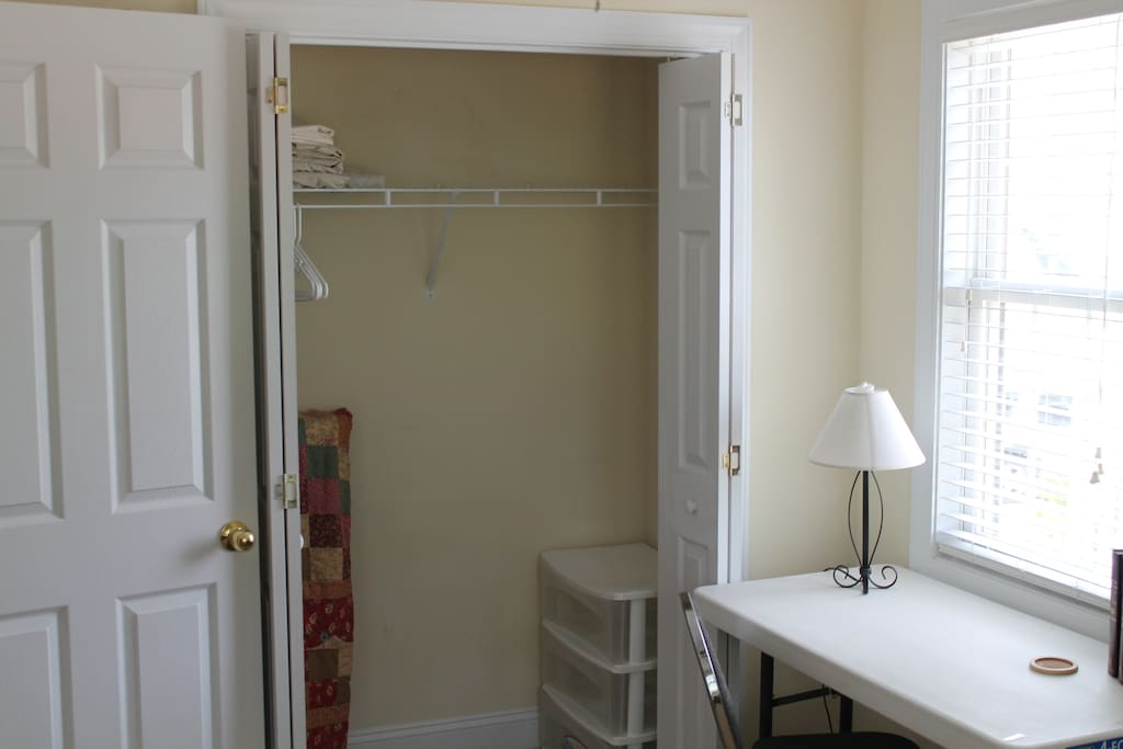 View of the Dorm Room closet and table.