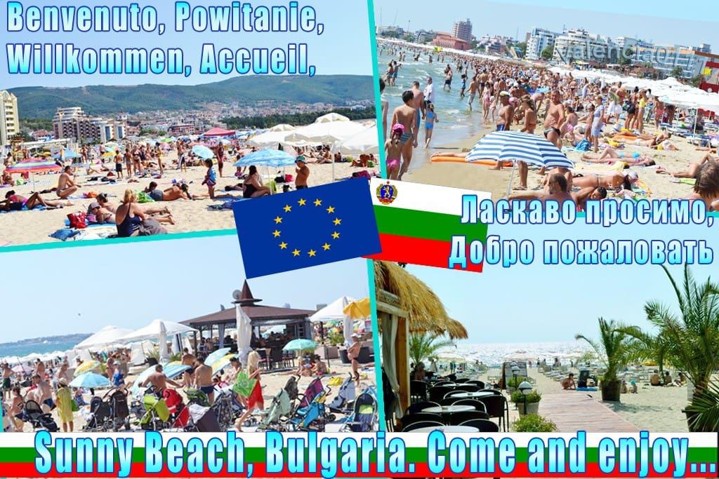 Самый большой курорт Солнечный берег в Болгарии! На пляже имеются платные и бесплатные места! Места всем хватит!!!