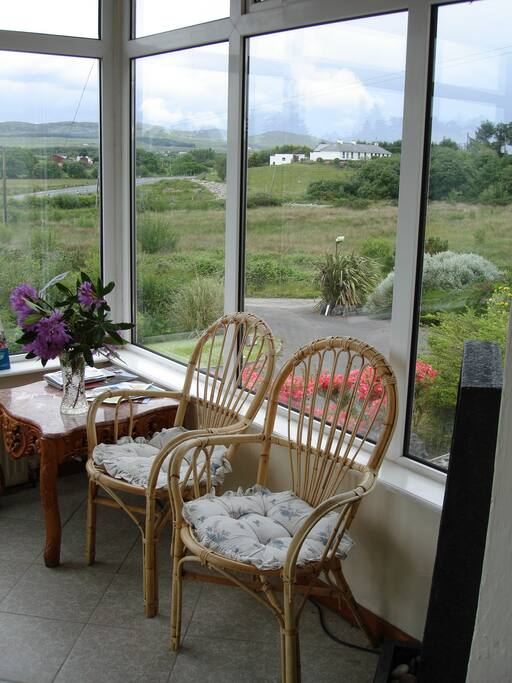 Glass porch with view of 'The hills of Donegal'