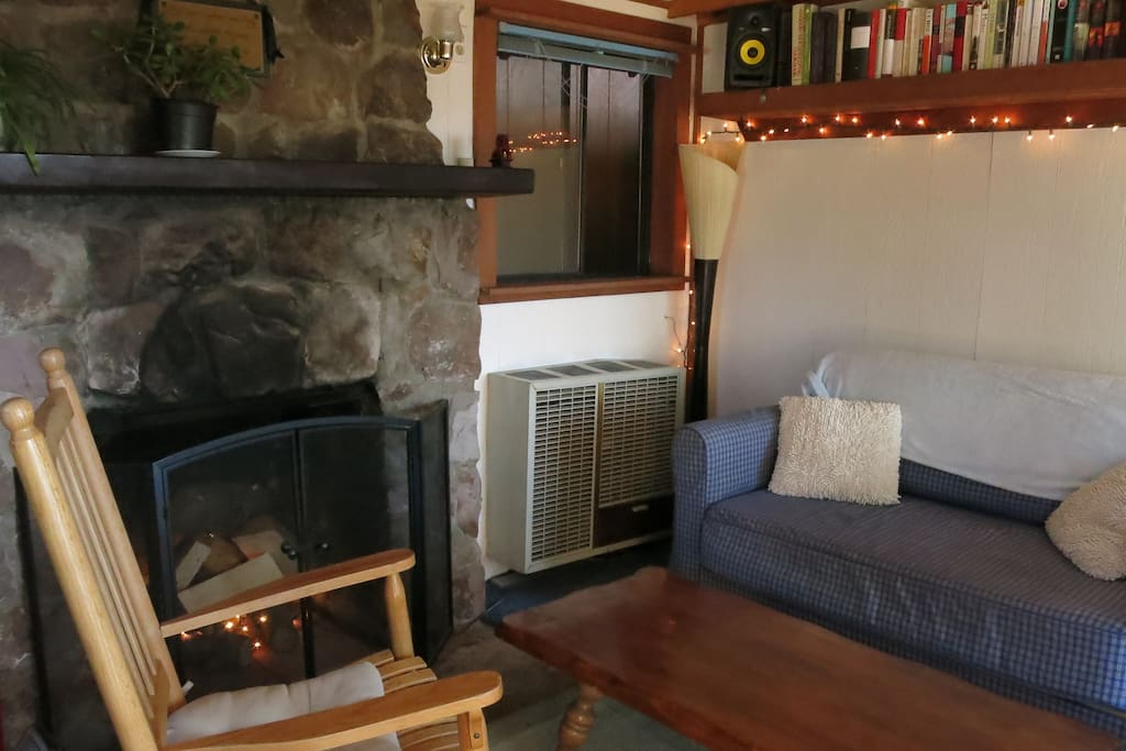 Super cozy little living area with books, music, and gas heater for cool nights