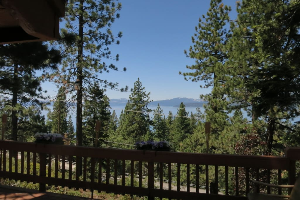 Great views of Lake Tahoe from sun drenched, private deck