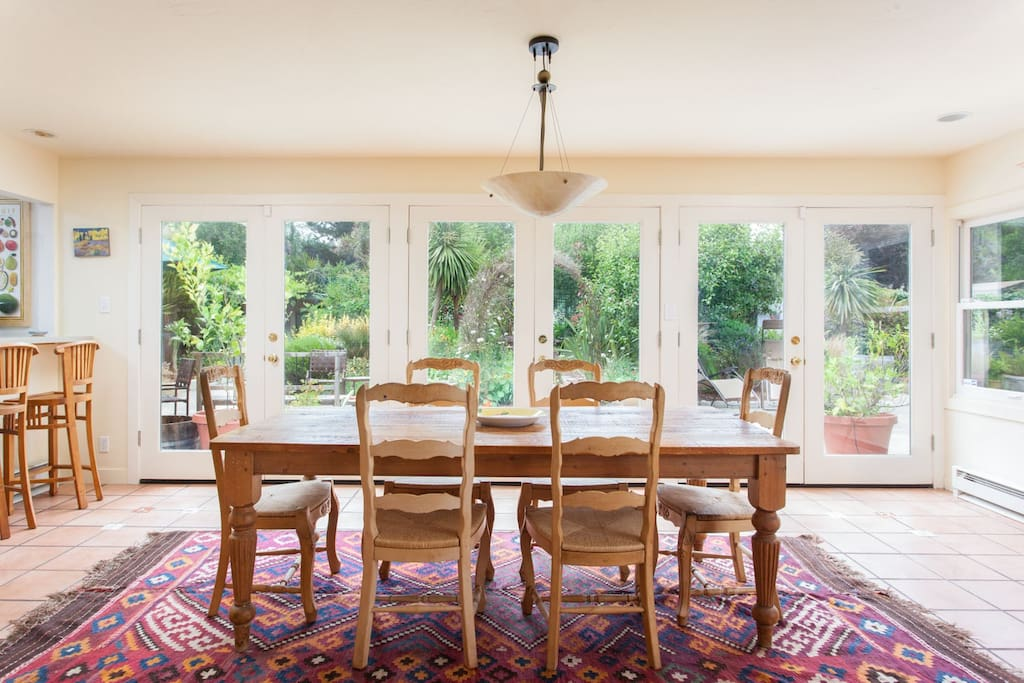 Dining room with French doors to garden