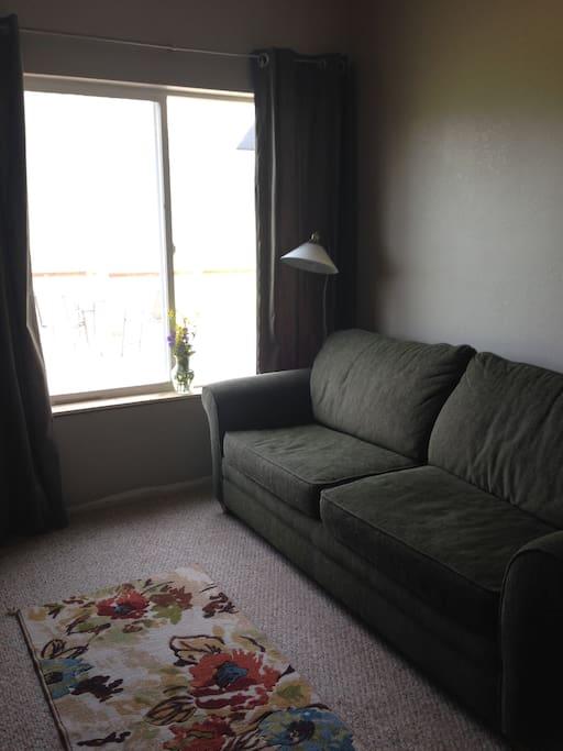 Comfy pullout sofa has a temper pedic mattress topper for added comfort.