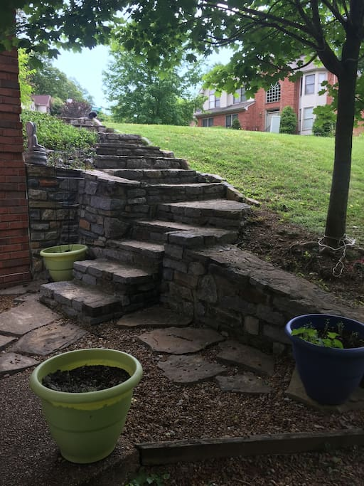 Stone steps to our charming little home away from home.