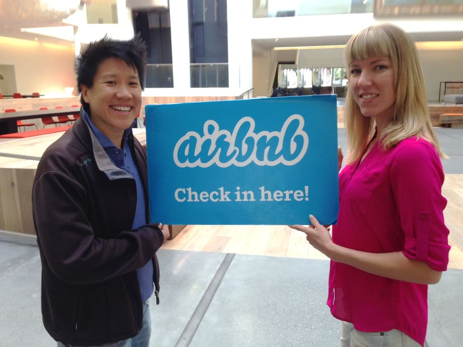 Shannon & MJ visiting the Airbnb headquarters in San Francisco!