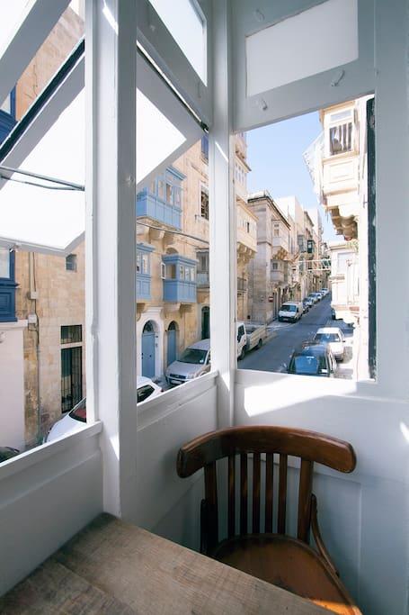 """Open """"gallarija"""" to the street below - indoor private terrace."""