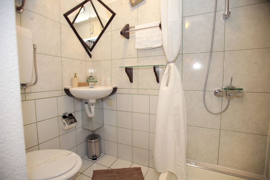 Just you - and the world. Bathroom equipped with essentials, hair dryer and other toiletries