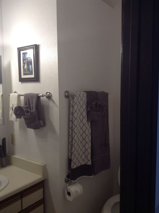 Private bath with tub and rainfall shower massage unit