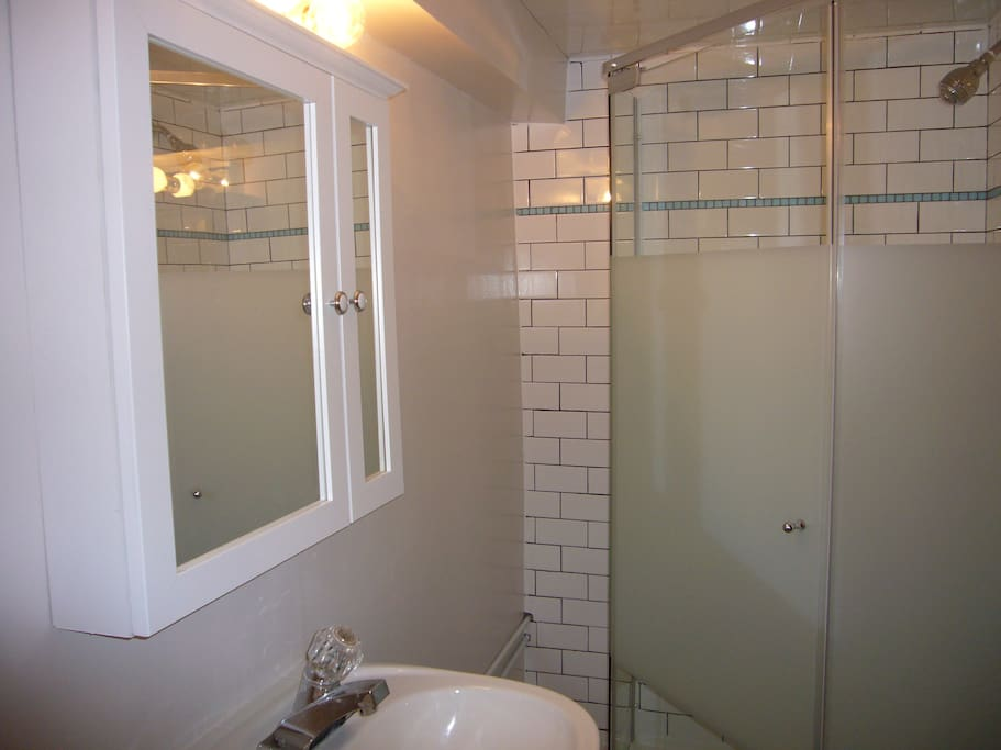 Private bathroom with glass shower in the apartment.