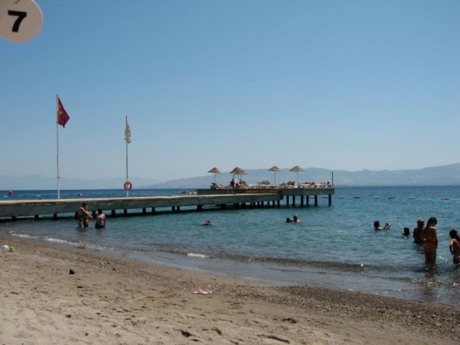 this is your beach with a  little restaurant. and the surf/kite school is 30 meters to the right!