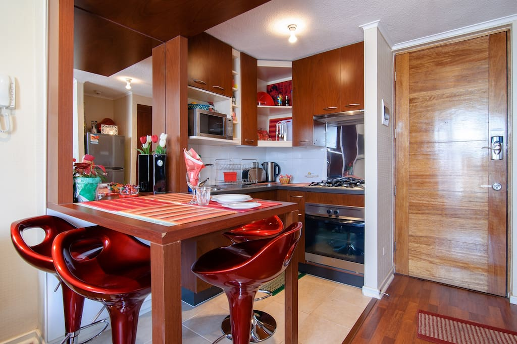 kitchenette with table