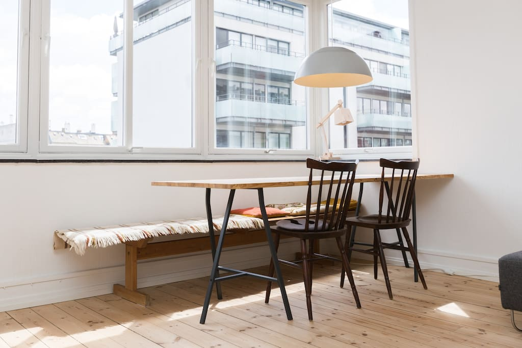 Our beautiful large, wooden dining table.