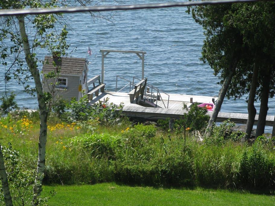 dock/floats w/swim ladder swim,dangling feet in water or sunbath while reading