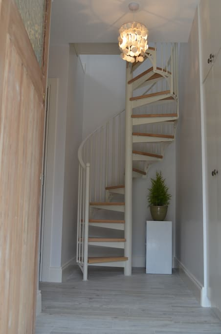 Spiral stairs - beautifully made in Sligo.  The kids lift conversion upstairs has proved really popular for sleepovers or watching movies and can give families that extra bit of space when 2/3 or 4 children are on holiday.