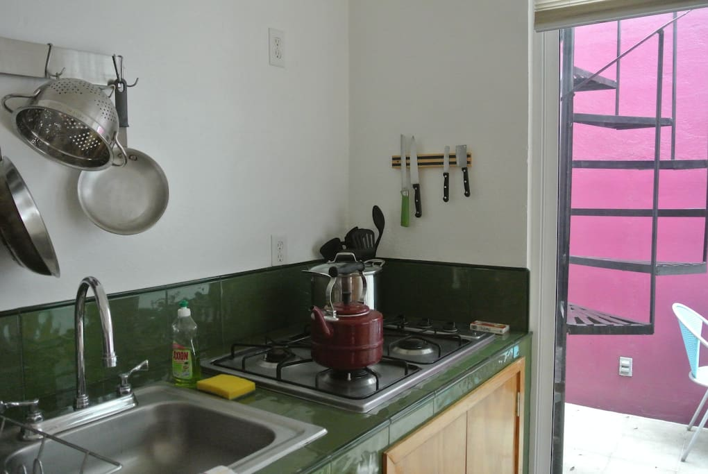 kitchen area with stove top.