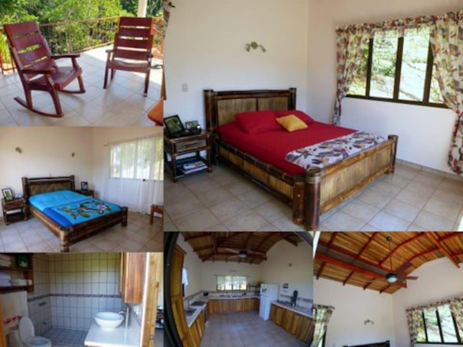 trois chambres , deux salles de bain avec douche,cuisine et patio