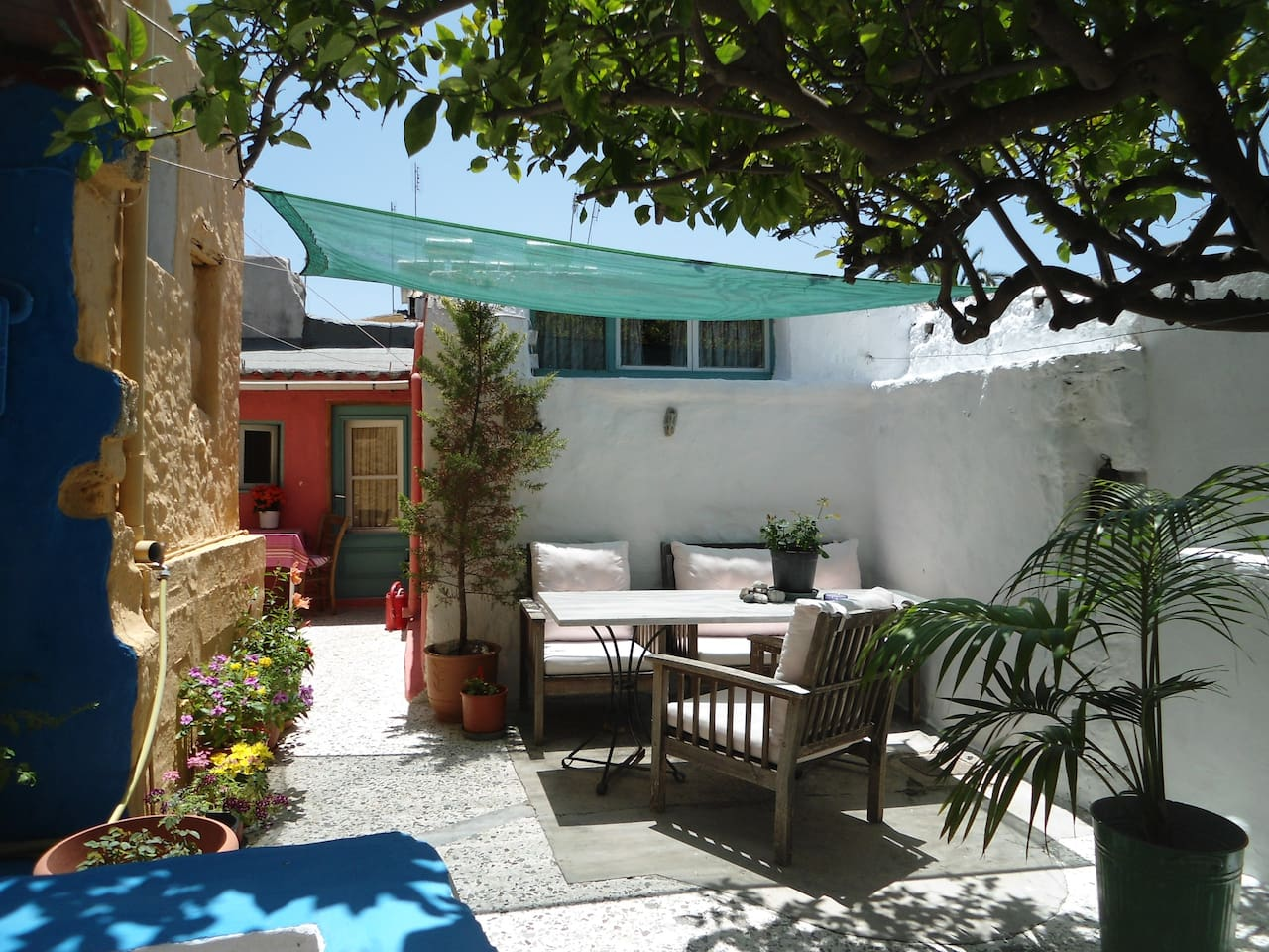 Up a few steps, the courtyard & guesthouse - June 2014