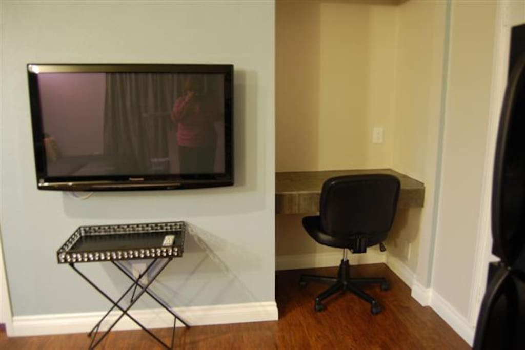 "PANASONIC 42"" HI DEF TV AND OFFICE SPACE WITH CABLE AND WI-FI INCLUDED."