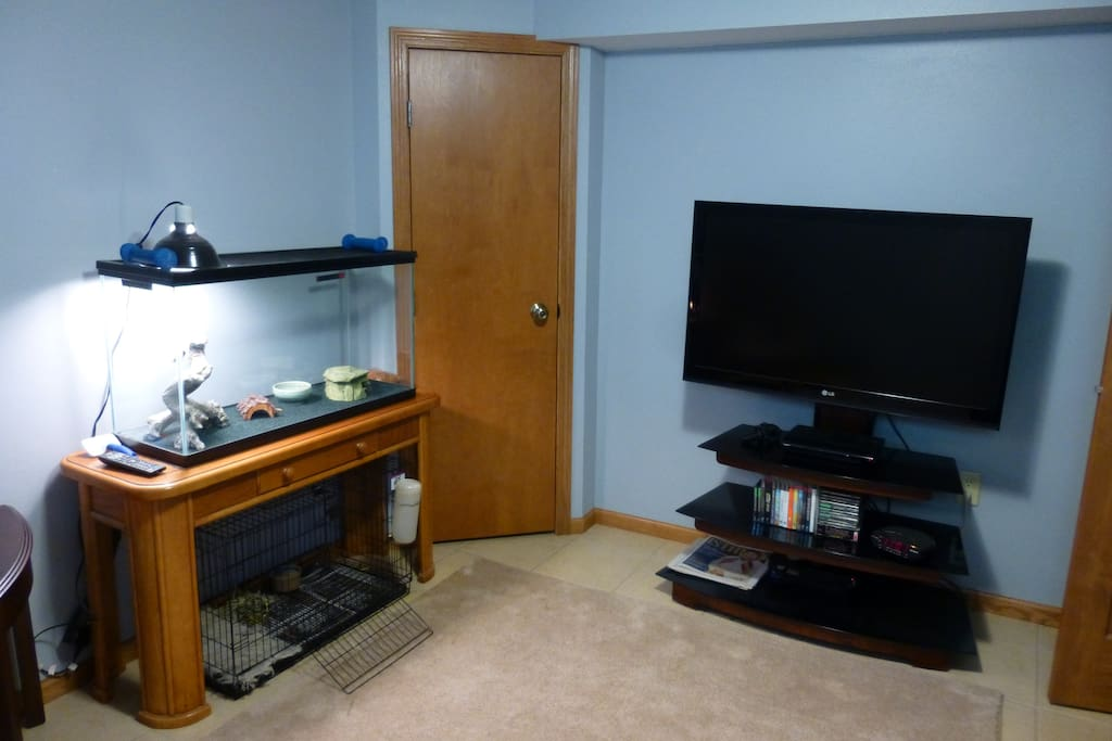 There's a TV room  right next to the guest bedroom. This room is also home to our pet corn snake and rabbit, Toro. If you prefer, we can relocate one/both of them during your stay.