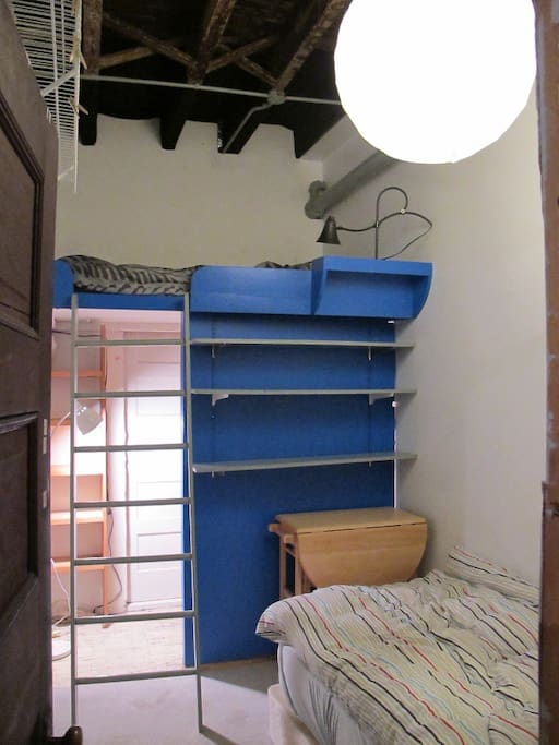 The Loft with shelves and walk under closet, old photo but you get the idea.