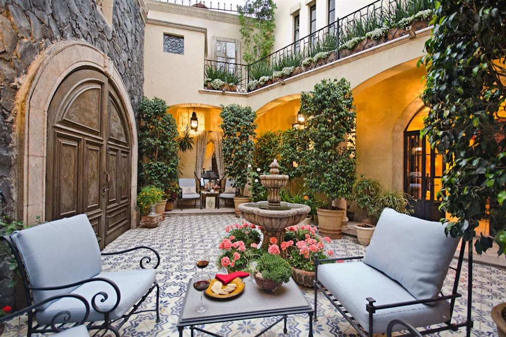 Your elegant courtyard is perfect for morning lattes and afternoon cocktails!