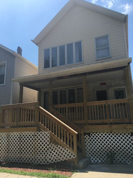 Our home takes up entire 2nd floor of two-unit building with friendly neighbors and brand new front & back deck!