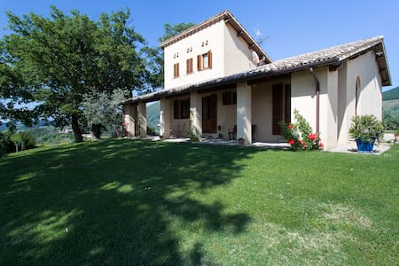 Located in the centre of Umbria, the house that is part of Agriturismo Le Vigne, rose on a beautiful hill in Foligno. Relax and fantastic view will attend you in a 2 floor house surrounded from olive threes, with a shared swimming pool and jacuzzi.