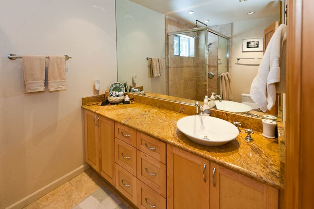 Private spacious master bath fully equipped with towels, soap, etc.