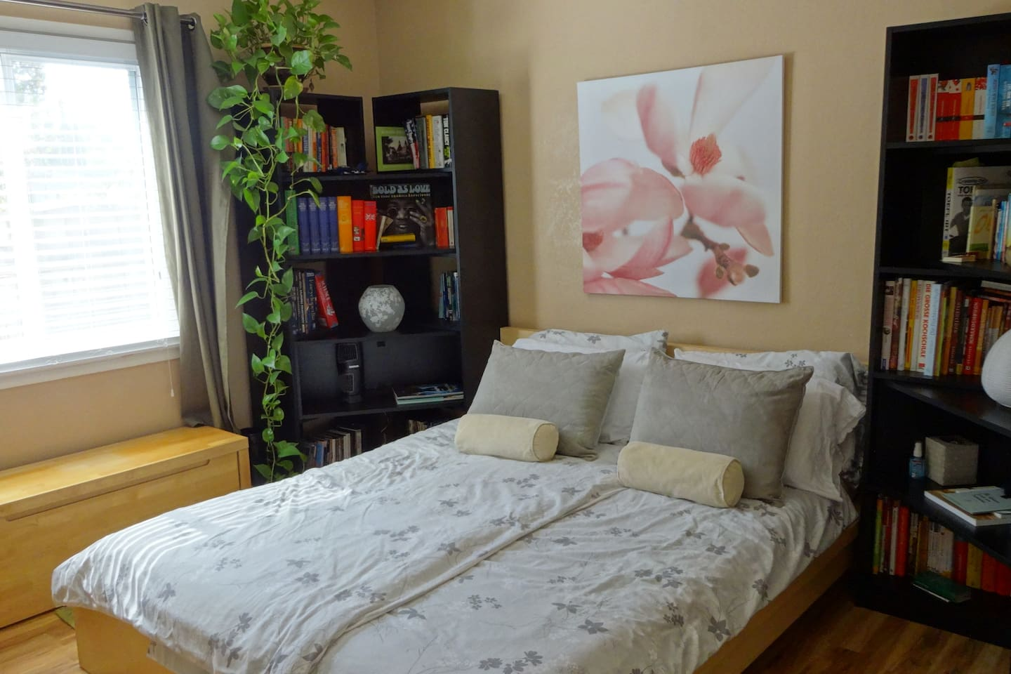 Lovely guest bedroom with a comfortable European Styled bed.