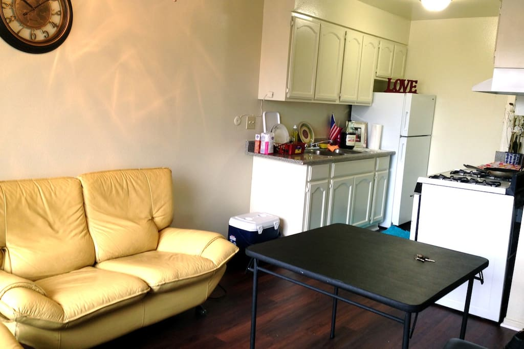 Living room and access to kitchen
