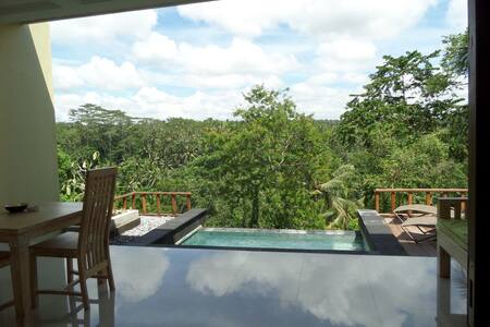Perched on a clift above Ayung River, a holiday villa of 1Bedroom with private pool would be perfect for your honeymoon in Ubud, Bali.  Overlooking the river, rice field and the valley of palm trees