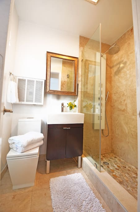 All marble bath with modern european faucets and high pressure jet shower with unlimited hot water