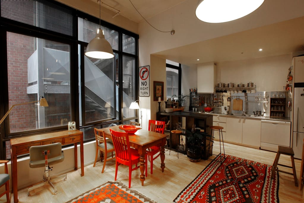 View of the dinning table and kitchen from the lounge area