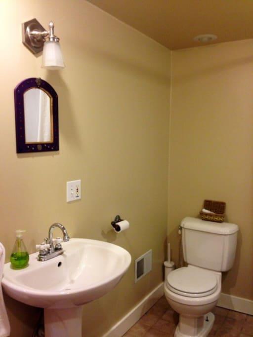 Bathroom is spacious and elegant