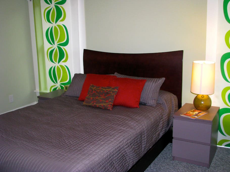 Super comfortable full bed with pillow top mattress.