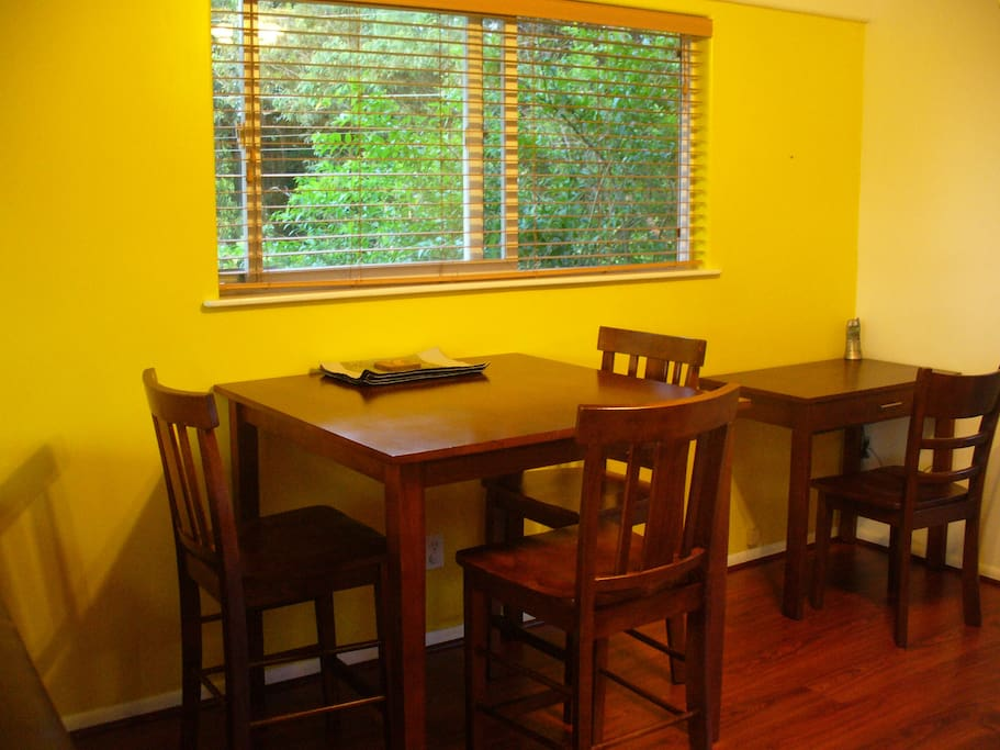 Dining table and chairs.  Fourth chair is available.