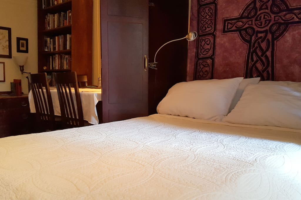 Extremely comfortable double bed with organic cotton linens.
