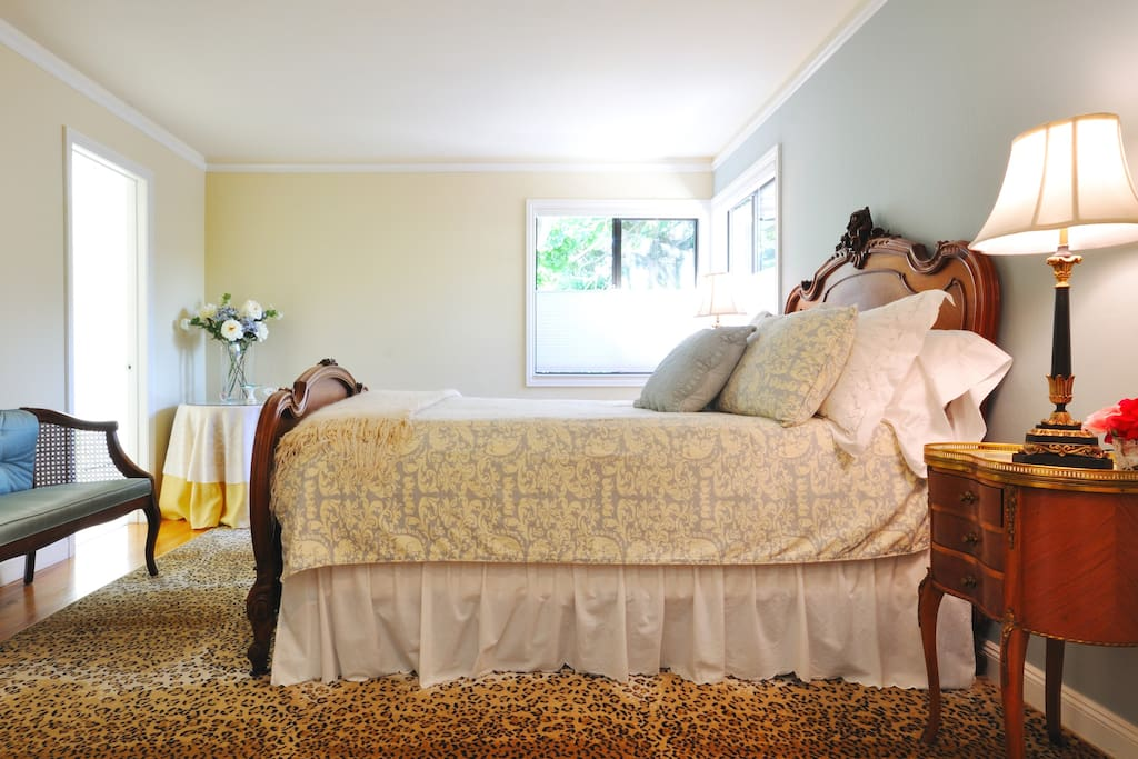 The queen bed offers a down comforter, luxury sheets and a memory foam topper.
