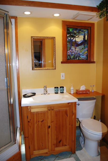 Very clean and new bathroom with high quality fixtures, shower enclosure and skylight.