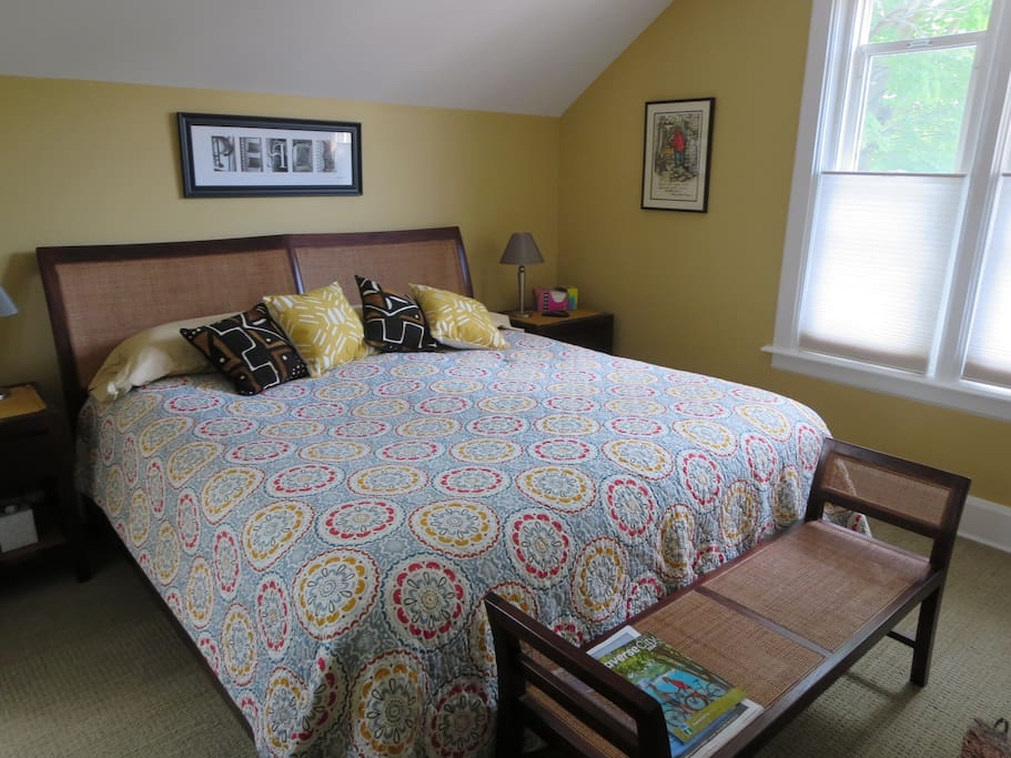 In one room you could sleep comfortably on a memory foam king sized bed.