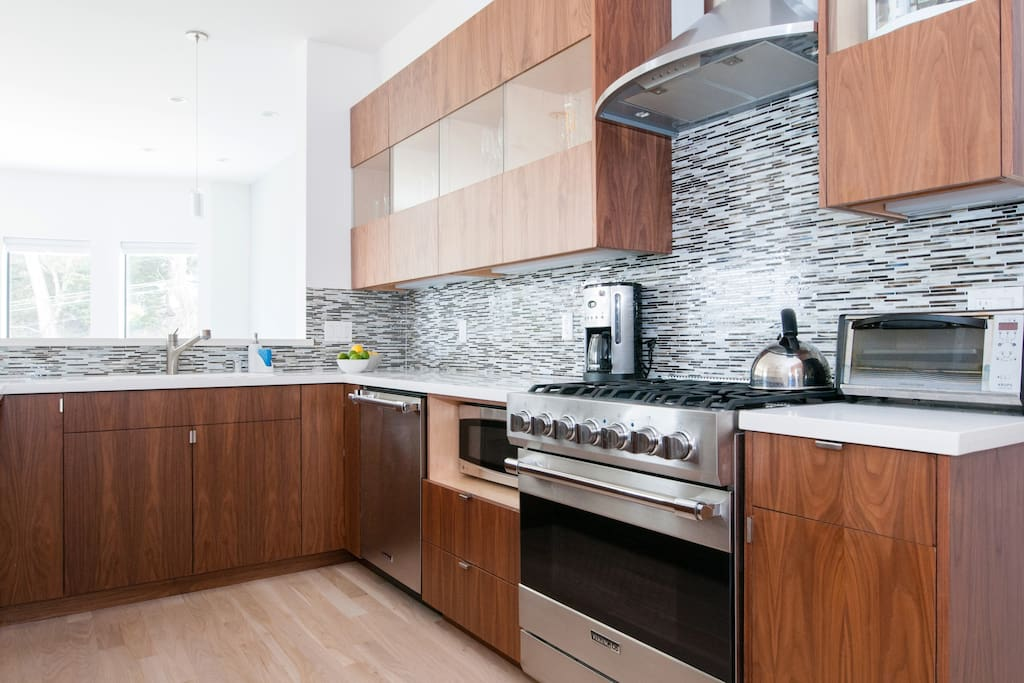 Custom cabinets and Viking appliances.