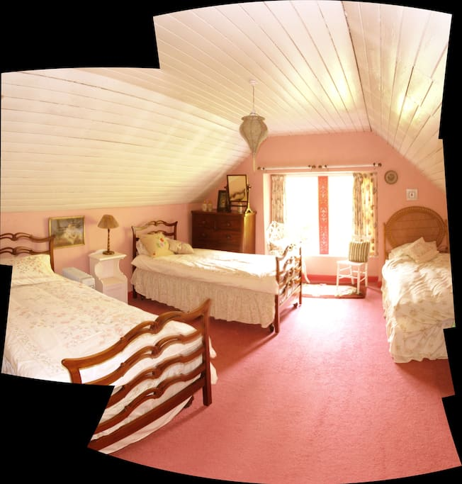 The pink bedroom that over looks the garden.