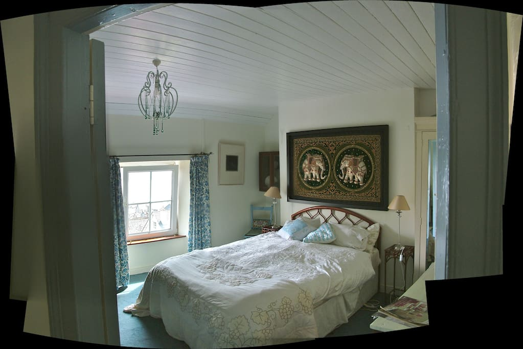The blue bedroom that has great views over the harbour.