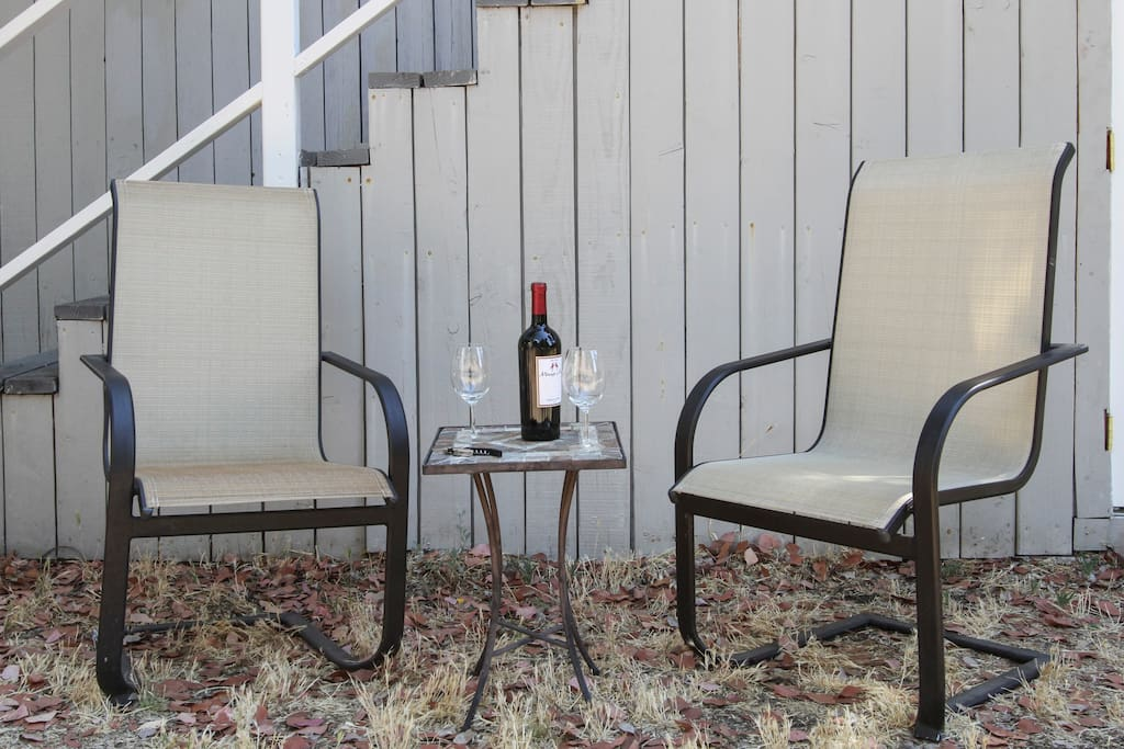 Enjoy a glass of wine in this seating area