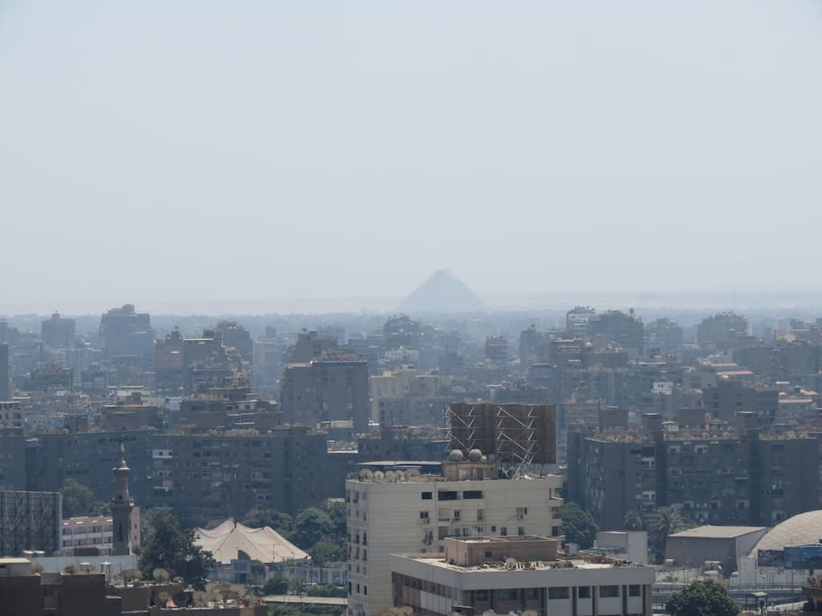 South View: Gizeh Pyramids. Sometimes you will also see the Sakkara Pyramids, 15 miles away