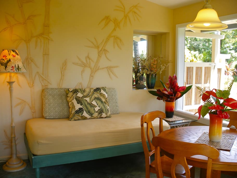 The Bamboo Cottage was named after the beautifully hand sculpted bamboo bas-relief that decorate the walls of the screened lanai