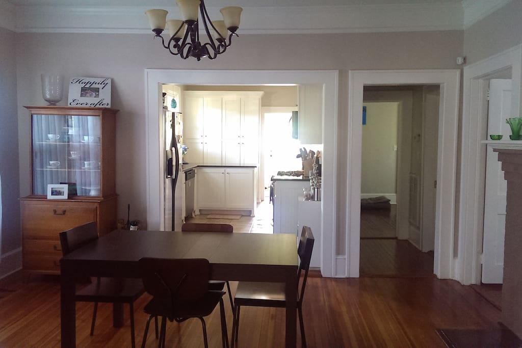 Dining and kitchen - shared with you during your stay! Your room is off to the right of the dining room.